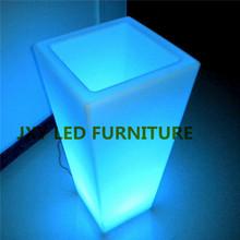 PE material rechargeable RGB led light flower pot , decorative artificial flower pot