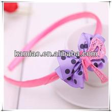 2014 kids ribbon hairband pink headband hair bow accessories