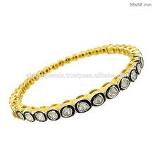 Singola fila 14k diamante taglio rosa braccialetto braccialetto in oro, designer moda nuziale gioielli, fornitore gioielli con diamanti