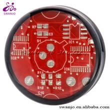 Acrylic Circuit Board Double Flared Saddle Plugs Body Piercing Jewelry Ear Gauge Plugs