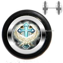 Cheap new unique cross wings logo 316L stainless steel fake ear plug ear piercing body jewelry