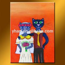 wholesale high quality modern animal of cartoon cat wear wedding dress painting