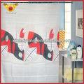Folha vermelha banho impresso tecido para cortinas da cozinha