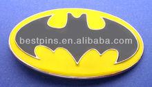 Zinc Alloy black & yellow bat man logo cartoon batman belt buckle