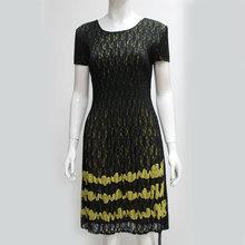Scoop Neck Black Embroidered Design Applique Long Unique Lace Chiffon Indian Long Pleat Maxi Dress 2015 Clothing Store Wholesale