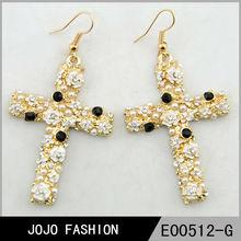 Latest very fashion charm flower pearl cross dangle earring