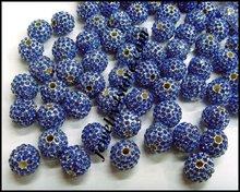 2012 NEW metal alloy shamballa rhinestone pave beads round shape ball W04