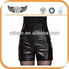 Popular High Waist Elegant Ladies Leather Short Pants