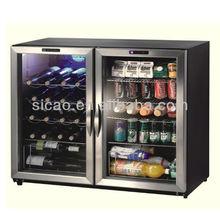 2 Glass Doors Bar Fridge, 170L Compressor Fridge, Beer Cans Bottle Wine Display Cooler Fridge