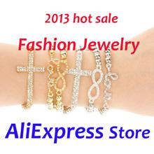 Wholesale Allibaba Express Fashion Store sell fashion jewelry Infinity Cross leather Bracelet