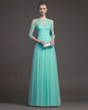 Elegant Empire Bateau Mint Green Tulle Lace Applique Long Sleeves Evening Dresses