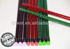2014 hot foil laser mechanical wooden hb pencil color eraser wholesale office &.school stationery