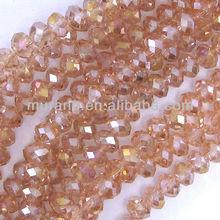"4x6mm faceted crystal rondelle beads 11""vintage rose AB 0315-1"