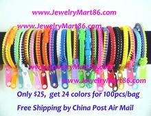 2013 Free Shipping 100pcs/lot Factory Price neon Colorful plastic Zip Zipper Bracelet Mix Color