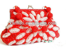 2014 popular personalized colorful red beaded silk evening party bags