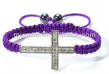 purple rhinestone studded sideway cross on braided adjustable band with two hematite bead B0402-2