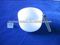 """10"""" Chakra Tuned Quartz frosted singing bowl for sound healing"""