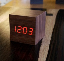 2014 Top Selling LED Wood WoodencAlarm Thermometer Temperature Clap On Sound