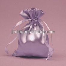 Logo printed fashional satin drawstring bag for jewelry