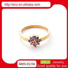 Classical design purple sunflower dubai gold jewelry wedding rings