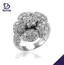 Flower design gemstone silver true love waits ring