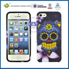 "C&T Gold foil tech skull pattern tpu case for iphone 5"" case"