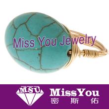 2014 new fashion popular turquoise stone ring wholesale
