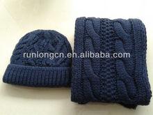 100% acrylic double layer knitting hat scarf knitting pattern