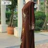 Brown Fashion Baju Muslim Abayas Maxi arabic style dress with Muslim Sleeves