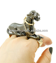 3D Hematite Panther Stretch Ring