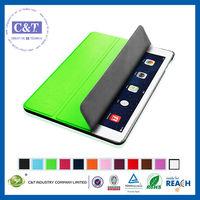 C&T Cute standing flip pu smart case for ipad 2 3 4 5 air
