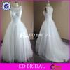 NS603 Charming Crystal Beaded Bodice Boat Neck Real Sample Wedding Dress
