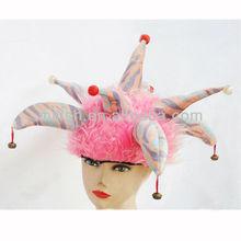 Venta al por mayor parte divertida decorado de fantasía traje de color rosa sombrero de bufón mh-1817
