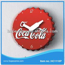 (HC1110P) 10 inch coco cola pendulum wall clock funny design steel framing