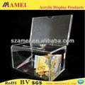 Fabbrica diretta soldi acrilico/scatola per le donazioni con serratura fatta da materia acrilico trasparente