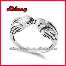 925 Sterling Silver Love Bird Kissing Ring lovely animal rings