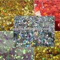 venta caliente glitter hexagon material para decoraciones del partido