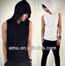 Modern designs t shirt with hood Popular Hooded Sleeveless Shirt