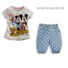 fashion girls minnie t shirts+polka dots jeans 2pcs summer clothing suits baby girls outfits