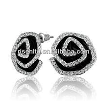 jewelry earrings 18K gold plated diamond rose flower earrings stud GPE799