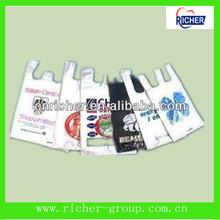 Custom small/Medium/Large white plastic t-shirt vest carry bag plastic shopping bag for grocery/supermarket