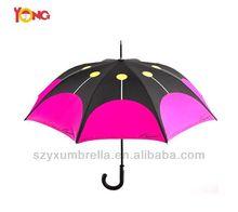2014 Promotional 23inch 8ribs Plastic Umbrella steel Shaft, J handle ,straight umbrella with shoulder strap