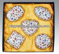 stock porcelain trinket jewel box with metal frame