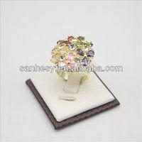 Latest design diamond ring inlaid colorful