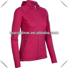 custom made women's ruby blank full zipper hooded icebreaker wool jackets &coats
