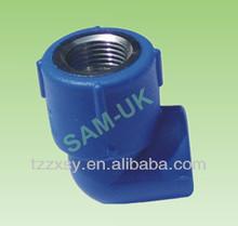 blue ppr female copper thread elbow