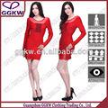 2014 senhora nova moda vestido vermelho manga comprida ver- através de vestido bandage
