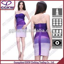 Latest Girls sleeveless rainbow bandage dress color combinations of dresses