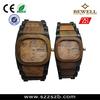 fashion latest design calendar two tone strap wooden watch