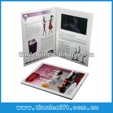 "7"" LCD video advertising card greeting card with 2G memory, full color customized artwork printing"